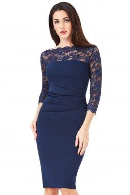 Společenské šaty Queen tmavě modré