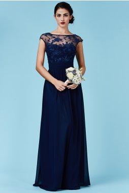 Luxusní společenské šaty Floretta tmavě modré
