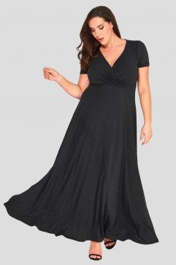 Společenské šaty pro plnoštíhlé Shauna černé dlouhé
