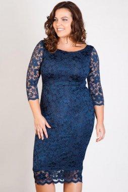 Společenské krajkové šaty pro plnoštíhlé Kiara tmavě modré