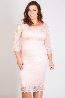 Společenské krajkové šaty Kiara broskvové