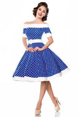 Rockabilly retro šaty pro plnoštíhlé Tinley modré s bílými puntíky