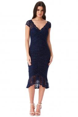 Koktejlové šaty Noelle tmavě modré