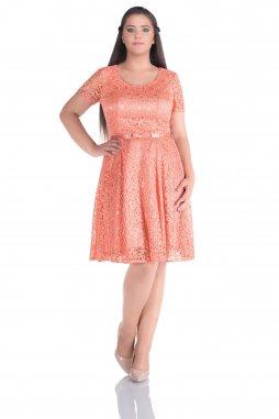 Společenské šaty pro plnoštíhlé Amber broskvové