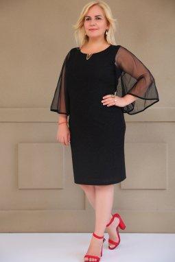 Společenské šaty pro plnoštíhlé Yvonne černé