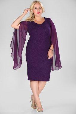 Společenské šaty pro plnoštíhlé Shannon fialové