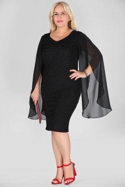 Společenské šaty pro plnoštíhlé Shannon černé