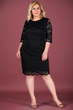 Společenské šaty pro plnoštíhlé Vernita černé