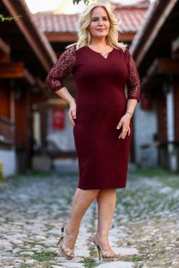 Společenské šaty pro plnoštíhlé Mignon vínově červené