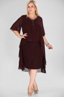 Společenské šaty pro plnoštíhlé Mariah vínově červené