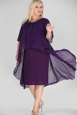 Společenské šaty pro plnoštíhlé Mariah fialové