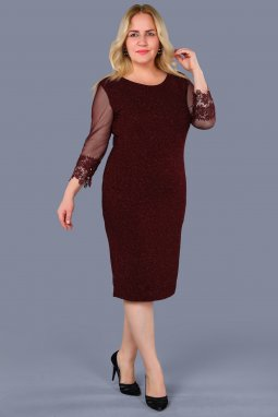 Společenské šaty pro plnoštíhlé Faustine vínově červené