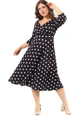 Společenské šaty pro plnoštíhlé Cassidy černé s bílými puntíky