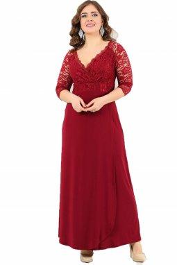Společenské šaty pro plnoštíhlé Rafaella vínově červené dlouhé