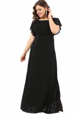 Společenské šaty pro plnoštíhlé Marcella černé dlouhé
