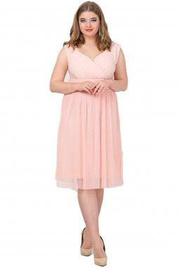 Společenské šaty pro plnoštíhlé Milly broskvové