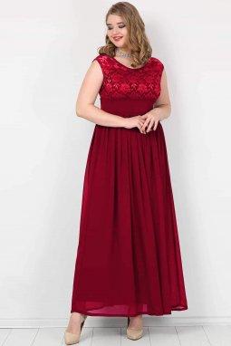 Společenské šaty pro plnoštíhlé Isidora vínově červené dlouhé