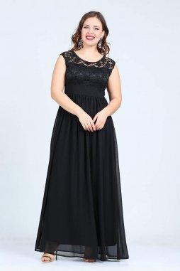 Společenské šaty pro plnoštíhlé Isidora černé dlouhé 1f288a4c1d