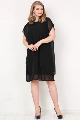 Společenské šaty pro plnoštíhlé Viviana černé