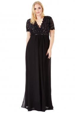 Luxusní společenské šaty pro plnoštíhlé Tiffanie černé