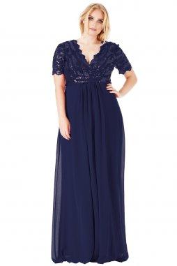 Luxusní společenské šaty pro plnoštíhlé Tiffanie tmavě modré