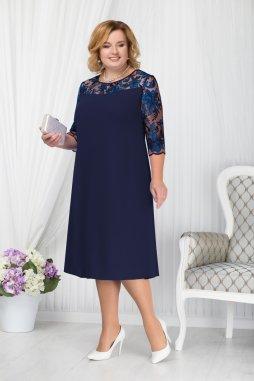 Luxusní společenské šaty pro plnoštíhlé Fabiola tmavě modré