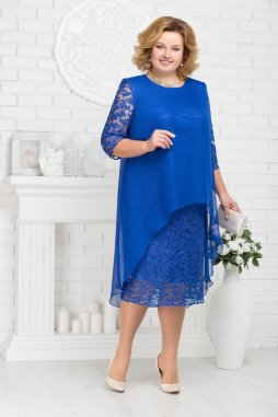 Luxusní společenské šaty pro plnoštíhlé Tiberia modré