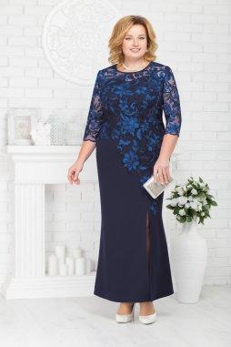 Luxusní společenské šaty pro plnoštíhlé Suzetta tmavě modré dlouhé