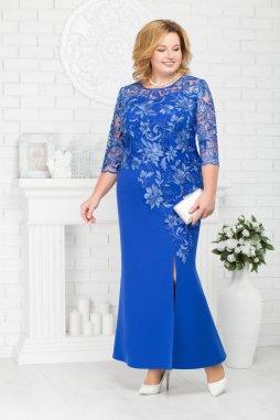 Luxusní společenské šaty pro plnoštíhlé Suzetta modré dlouhé