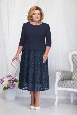 Luxusní společenské šaty pro plnoštíhlé Allegra tmavě modré