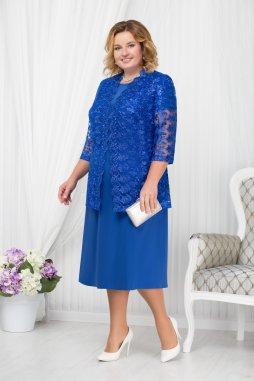 Luxusní společenské šaty pro plnoštíhlé Francesca modré s krajkovým kabátkem