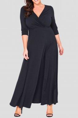 Společenské šaty pro plnoštíhlé Shauna II černé dlouhé