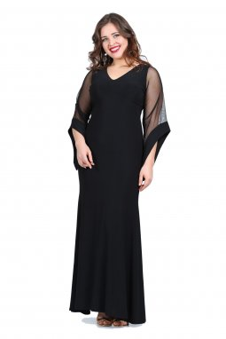 03a4066b71b7 Společenské šaty pro plnoštíhlé Serafina černé dlouhé