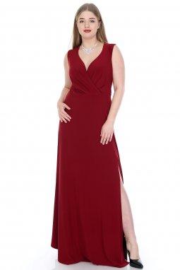 Společenské šaty pro plnoštíhlé Alessandra vínově červené dlouhé