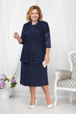 Luxusní společenské šaty pro plnoštíhlé Francesca tmavě modré s krajkovým kabátkem