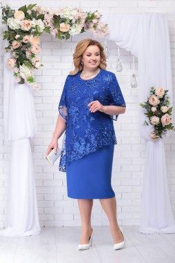 Luxusní společenské šaty pro plnoštíhlé Danielle modré s krajkovým svrškem
