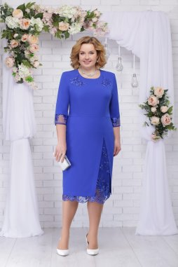 Luxusní společenské šaty pro plnoštíhlé Tiziana II modré