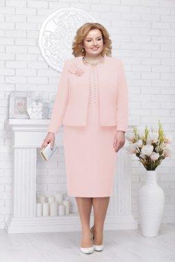 Luxusní společenské šaty pro plnoštíhlé Evangeline broskvové s kabátkem