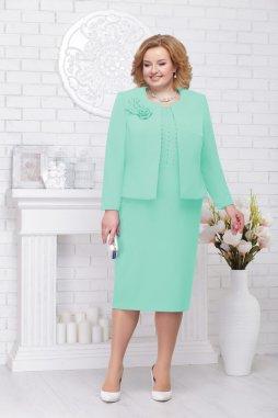 Luxusní společenské šaty pro plnoštíhlé Evangeline mentolové s kabátkem