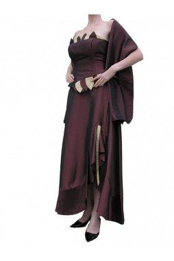 Dynasty luxusní společenské dlouhé šaty Valencia hnědé s šálou