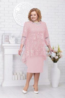Luxusní společenské šaty pro plnoštíhlé Philippa pudrové s krajkovým svrškem