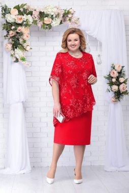 Luxusní společenské šaty pro plnoštíhlé Danielle červené s krajkovým svrškem