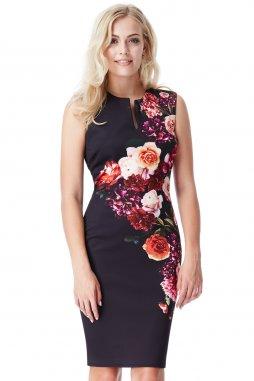 Společenské šaty Payton černé s květy
