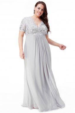 Luxusní společenské šaty pro plnoštíhlé Tiffanie stříbrno-světle šedé