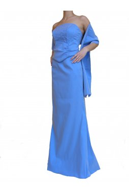 Dynasty luxusní společenské dlouhé šaty Victoria modré s šálou