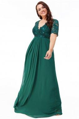Luxusní společenské šaty pro plnoštíhlé Tiffanie smaragdově zelené