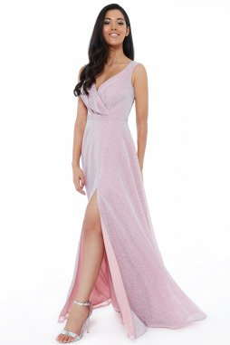 Luxusní společenské šaty Roxanna světle růžové