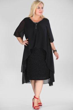 Společenské šaty pro plnoštíhlé Mariah černé