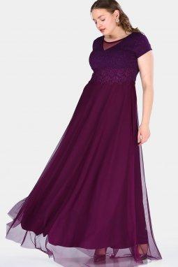 Společenské šaty pro plnoštíhlé Raimonda fialové dlouhé