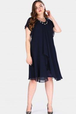 Společenské šaty pro plnoštíhlé Shauna tmavě modré